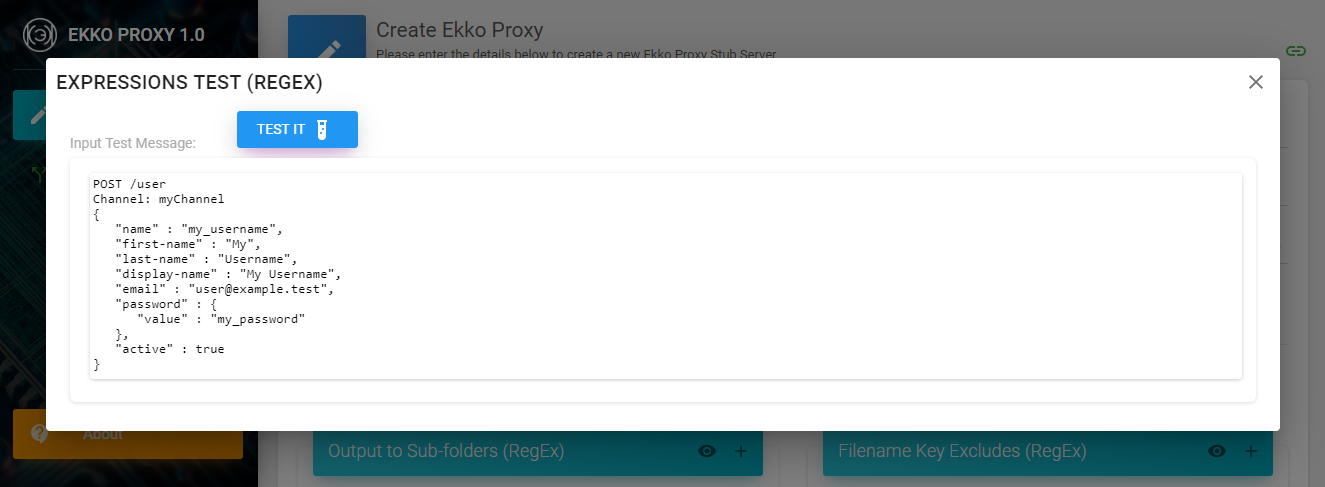 ekkoproxy expressions test dialog, organise mode